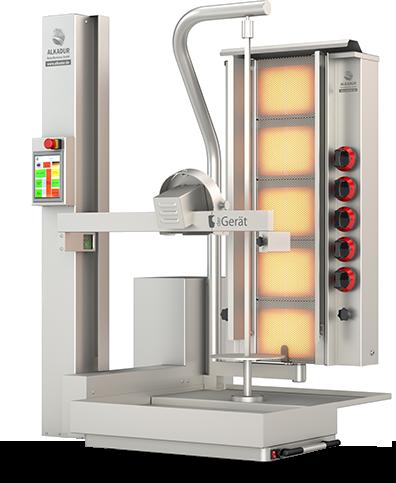 Robot Kebab der Gerät, modèle 5 bruleurs.